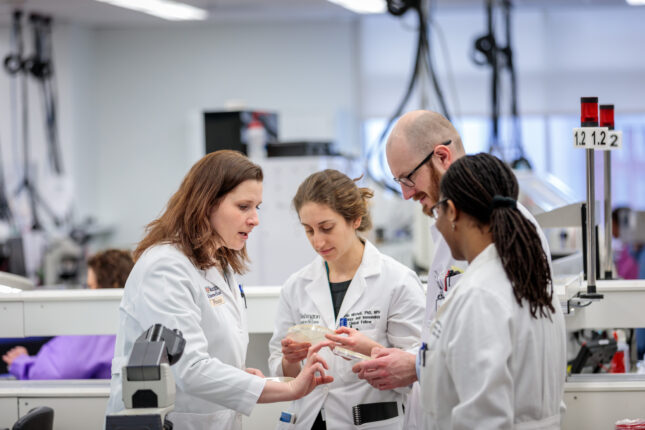 Pathology trainees and doctors in a research lab